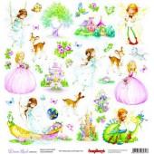 Лист бумаги для скрапбукинга Scrapberry's КАРТОЧКИ 3 коллекция Волшебная страна 30х30см