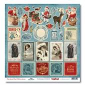 Лист бумаги для скрапбукинга Scrapberry's КАРТОЧКИ коллекция С Рождеством! 30х30см