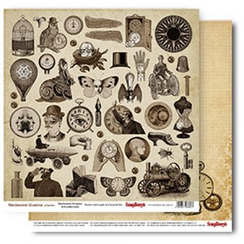 Лист бумаги для скрапбукинга Scrapberry's ИЛЛЮЗИИ коллекция Механические иллюзии 30х30см