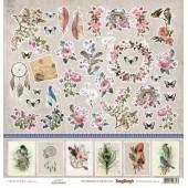 Лист бумаги для скрапбукинга Scrapberry's КАРТОЧКИ 1 коллекция Бохо 30х30см