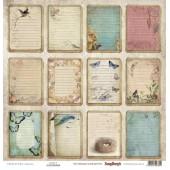 Лист бумаги для скрапбукинга Scrapberry's КАРТОЧКИ 2 коллекция Бохо 30х30см