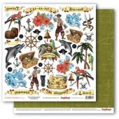 Лист бумаги для скрапбукинга Scrapberry's КАРТОЧКИ 1 коллекция Сокровище пиратов 30х30см
