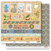 Лист бумаги для скрапбукинга Scrapberry's КАРТОЧКИ 2 коллекция Средиземноморье 30х30см