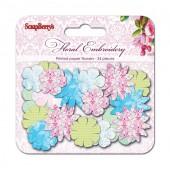 Набор принтованных бумажных цветочков Scrapberry's ЦВЕТОЧНАЯ ВЫШИВКА