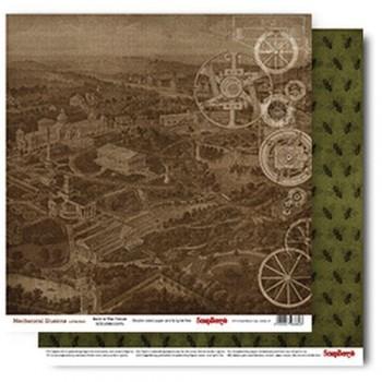 Лист бумаги для скрапбукинга Scrapberry's ВОЗВРАЩЕНИЕ В БУДУЩЕЕ коллекция Механические иллюзии 30х30см