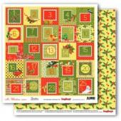 Лист бумаги для скрапбукинга Scrapberry's КАЛЕНДАРЬ коллекция Рождественская Омела 30х30см