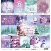 Лист бумаги для скрапбукинга Scrapberry's КАРТОЧКИ 2 коллекция Зимние контрасты 30х30см
