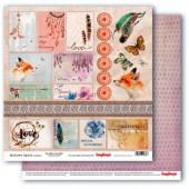 Лист бумаги для скрапбукинга Scrapberry's КАРТОЧКИ 2 коллекция Этника 30х30см