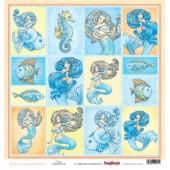 Лист бумаги для скрапбукинга Scrapberry's КАРТОЧКИ коллекция Сказки моря 30х30см