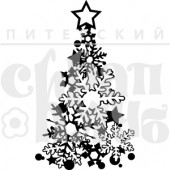 Штамп Питерского Скрапклуба ЕЛКА СО ЗВЕЗДОЙ