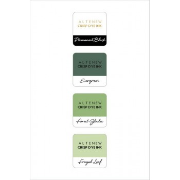Набор чернильных подушечек Altenew Crisp Inks GREEN FIELDS with permanent black