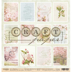 Лист бумаги для скрапбукинга CraftPaper КАРТОЧКИ коллекция Вишневый сад 30х30см