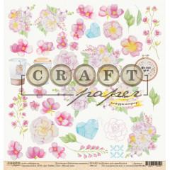 Лист бумаги для скрапбукинга CraftPaper МИЛЫЙ ДОМ коллекция Цветочная вышивка 30х30см