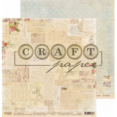 Лист бумаги для скрапбукинга CraftPaper БЕРЕЖНО ХРАНЮ коллекция Письма о любви 30х30см