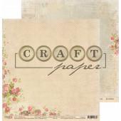Лист бумаги для скрапбукинга CraftPaper РОЗОВЫЙ САД коллекция Письма о любви 30х30см