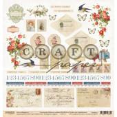 Лист бумаги для скрапбукинга CraftPaper КОНВЕРТЫ И МАРКИ коллекция Письма о любви 30х30см