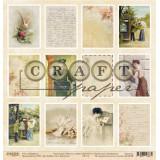 Лист бумаги для скрапбукинга CraftPaper КАРТОЧКИ коллекция Письма о любви 30х30см