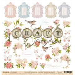 Лист бумаги для скрапбукинга CraftPaper ЛЕПЕСТКИ коллекция Пионовый сад 30х30см