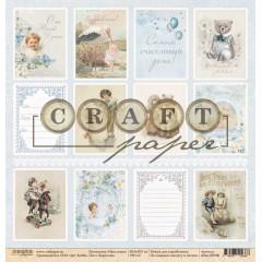 Лист бумаги для скрапбукинга CraftPaper КАРТОЧКИ коллекция Наш сынок 30х30см