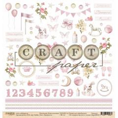 Лист бумаги для скрапбукинга CraftPaper ПРИНЦЕССА коллекция Наша доченька 30х30см
