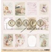 Лист бумаги для скрапбукинга CraftPaper КАРТОЧКИ коллекция Наша доченька 30х30см