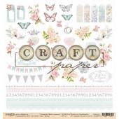 Лист бумаги для скрапбукинга CraftPaper ЦВЕТЫ коллекция Вместе навсегда 30х30см