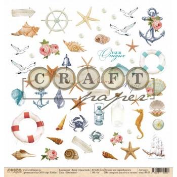 Лист бумаги для скрапбукинга CraftPaper ПОБЕРЕЖЬЕ коллекция Ветер странствий 30х30см