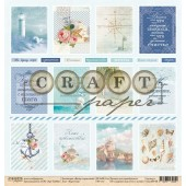 Лист бумаги для скрапбукинга CraftPaper КАРТОЧКИ коллекция Ветер странствий 30х30см