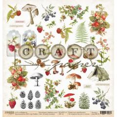 Лист бумаги для скрапбукинга CraftPaper В МОЕМ ЛУКОШКЕ (обложка) коллекция Ароматы леса 30х30см
