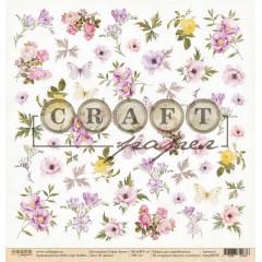 Лист бумаги для скрапбукинга CraftPaper В ЦВЕТАХ коллекция Соберу букет 30х30см
