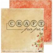 Лист бумаги для скрапбукинга CraftPaper РОМАНС коллекция Золотая осень 30х30см