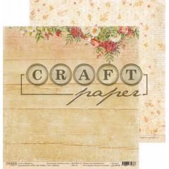 Лист бумаги для скрапбукинга CraftPaper РЯБИНА коллекция Золотая осень 30х30см