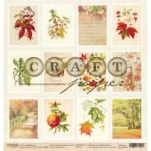 Лист бумаги для скрапбукинга CraftPaper КАРТОЧКИ коллекция Золотая осень 30х30см
