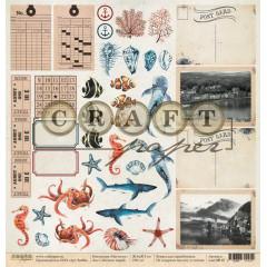 Лист бумаги для скрапбукинга CraftPaper ЖИТЕЛИ МОРЕЙ коллекция Наутилус 30х30см