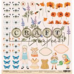 Лист бумаги для скрапбукинга CraftPaper ПОДРУЖКА коллекция Цветик-семицветик 30х30см
