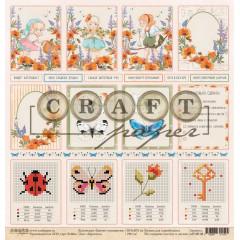 Лист бумаги для скрапбукинга CraftPaper КАРТОЧКИ коллекция Цветик-семицветик 30х30см