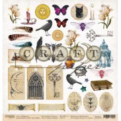 Лист бумаги для скрапбукинга CraftPaper ТАЙНЫ АЛХИМИИ (обложка) коллекция Алхимия 30х30см