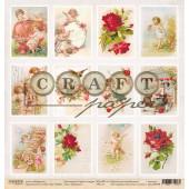Лист бумаги для скрапбукинга CraftPaper КАРТОЧКИ коллекция Стрелы Амура 30х30см