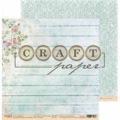 Лист бумаги для скрапбукинга CraftPaper СНЕГИРИ коллекция Голубой огонек 30х30см