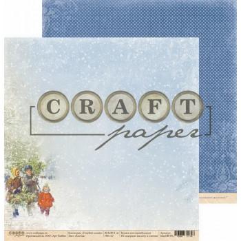 Лист бумаги для скрапбукинга CraftPaper ЕЛОЧКА коллекция Голубой огонек 30х30см