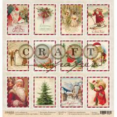 Лист бумаги для скрапбукинга CraftPaper КАРТОЧКИ коллекция Рождество 30х30см