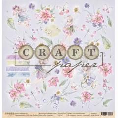 Лист бумаги для скрапбукинга CraftPaper ФЕИ И ЦВЕТЫ коллекция В мире снов 30х30см