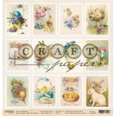 Лист бумаги для скрапбукинга CraftPaper КАРТОЧКИ коллекция Пасха 30х30см
