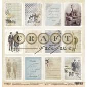 Лист бумаги для скрапбукинга CraftPaper КАРТОЧКИ коллекция Джентельмен 30х30см