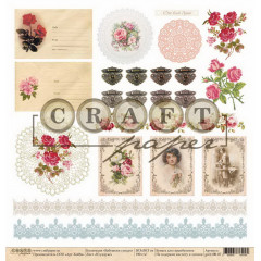 Лист бумаги для скрапбукинга CraftPaper В СУНДУКЕ (обложка) коллекция Бабушкин сундук 30х30см
