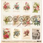 Лист бумаги для скрапбукинга CraftPaper КАРТОЧКИ коллекция Бабушкин сундук 30х30см