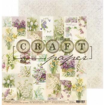 Лист бумаги для скрапбукинга CraftPaper ВЕСЕННИЕ ОТКРЫТКИ коллекция Первоцветы 30х30см