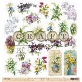 Лист бумаги для скрапбукинга CraftPaper 8 МАРТА коллекция Первоцветы 30х30см