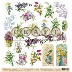 Лист бумаги для скрапбукинга CraftPaper 8 МАРТА (обложка) коллекция Первоцветы 30х30см