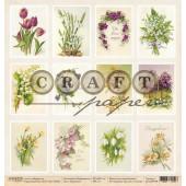 Лист бумаги для скрапбукинга CraftPaper КАРТОЧКИ коллекция Первоцветы 30х30см